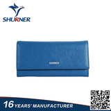 Blue magnetic cover lichee pattern leather wallet