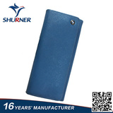 Blue metal button long wallet with zipper slot inside and outside