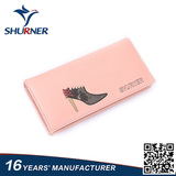 Korea style pink long women genuine leather wallet