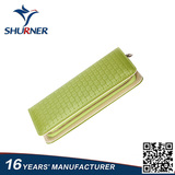 Light green woven zipper leather wallet  for women