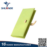 Light green long frosted leather wallet for women